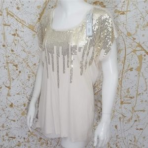 APT 9 sequined short sleeve tee size Large…